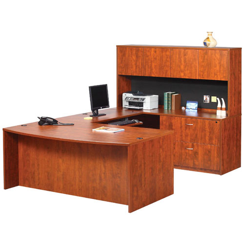 executive bow front w   lateral file  keyboard tray   u0026 hutch